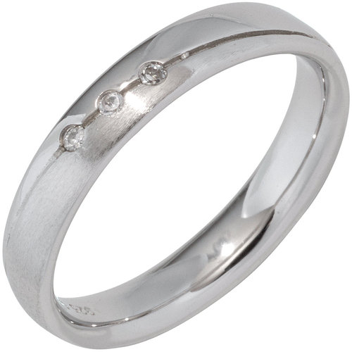 Ring 925 Sterling Silber rhodiniert matt 3 Zirkonia Partnerring