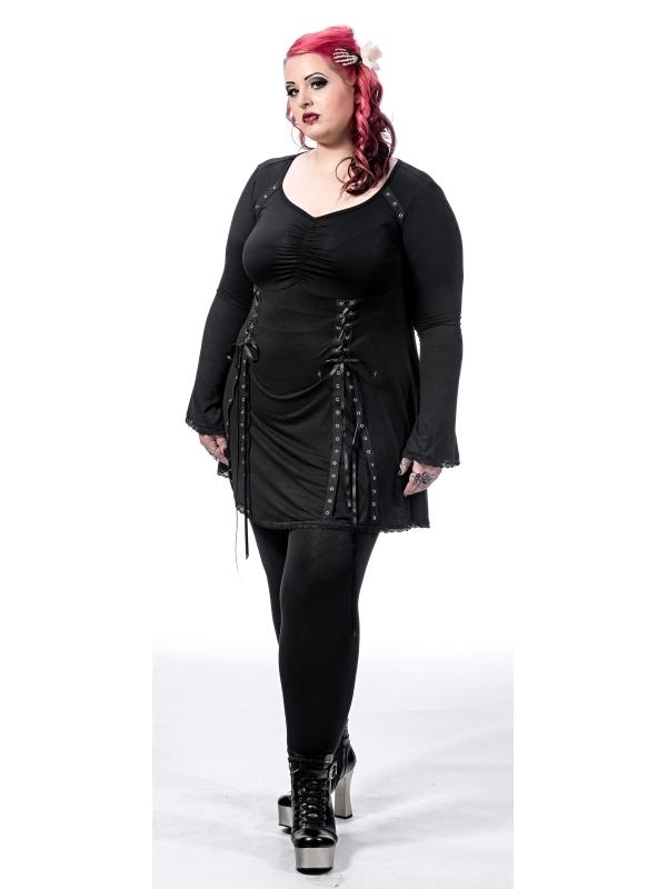 Schwarzes Kleid mit V-Ausschnitt und Schnürung in Gr. 2XL ...